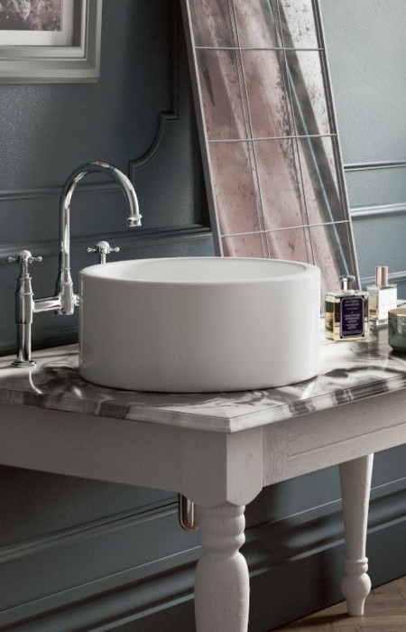 Fireclay Lancaster Round Above Counter Bathroom Sink - White